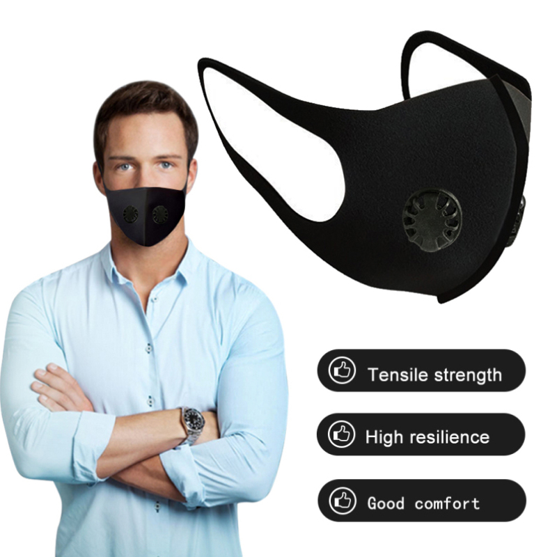 Dustproof Air Purifying Mask Spongek Air Valve Mouth Mask Cycling Trainning Face Mask With Double PM2.5 Anti-fog Respirator