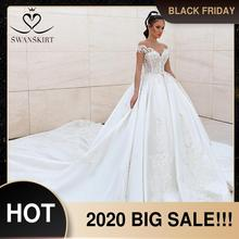 Роскошное Свадебное платье принцессы с бисером 2020 милое Атласное Бальное платье с аппликацией из кристаллов Свадебная юбка пачка F306 свадебное платье