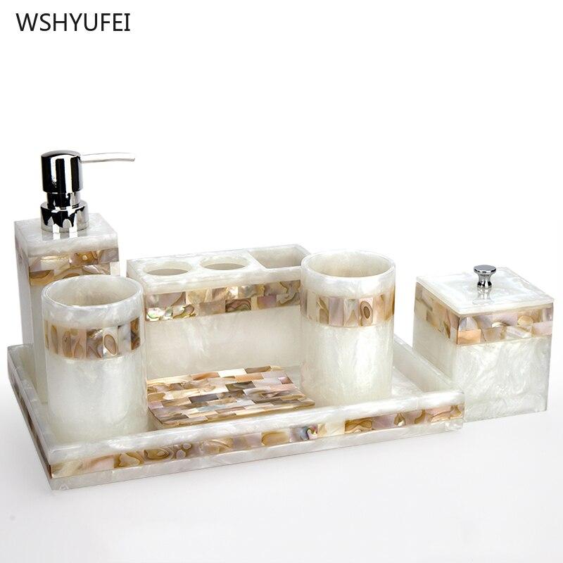 หรูหรา SHELL Home ห้องน้ำยุโรปล้างห้องน้ำอุปกรณ์แปรงฟันถ้วยขวดสบู่สบู่จานผู้ถือแปรงสีฟัน