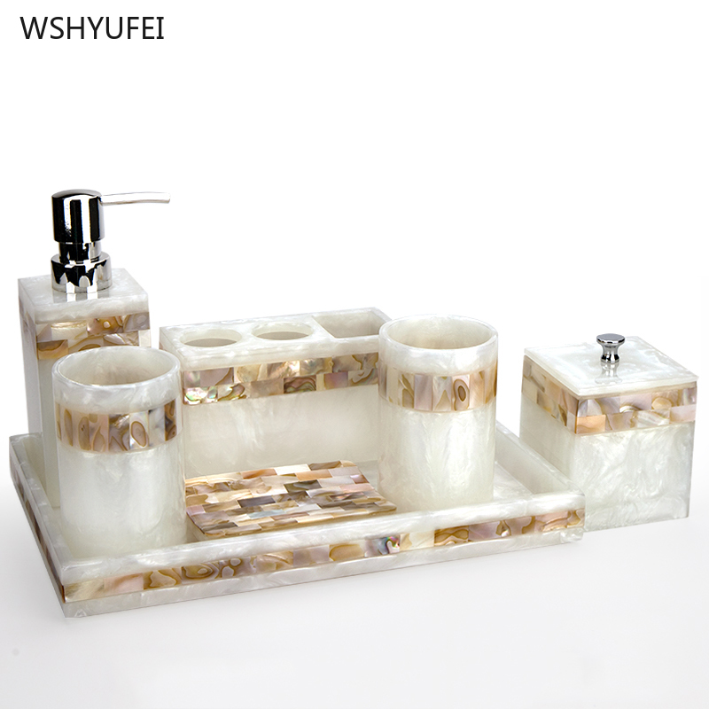 Light luxury shell home bathroom European wash suit bathroom supplies brush tooth cup soap bottle soap dish toothbrush holder image
