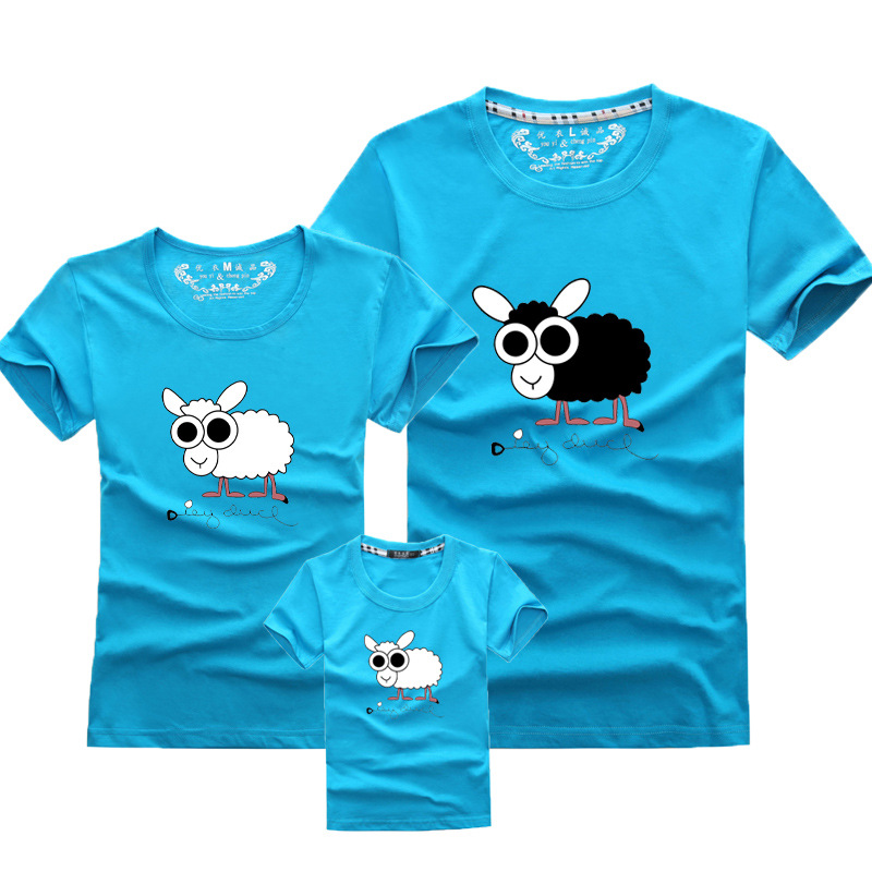 Matching Family Look Outfits Cartoon Sheep Printed Shirts Tees Tops Couples Lovers Match Clothing Mom And Me Daughter Dad Son