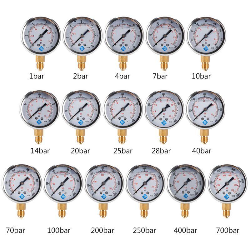 Вакуумные датчики давления, Заполняемые глицерином, 1/4 BSP BTM с 68 мм циферблатом в переменном токе до 10000 PSI BTM