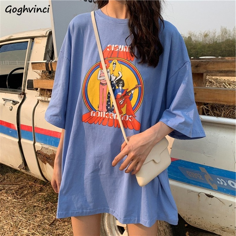 Summer T-shirts Half Sleeve Tees Women Long Style Korean Style Casual O-neck Printed Fashion Loose Oversize Breathable Ulzzang