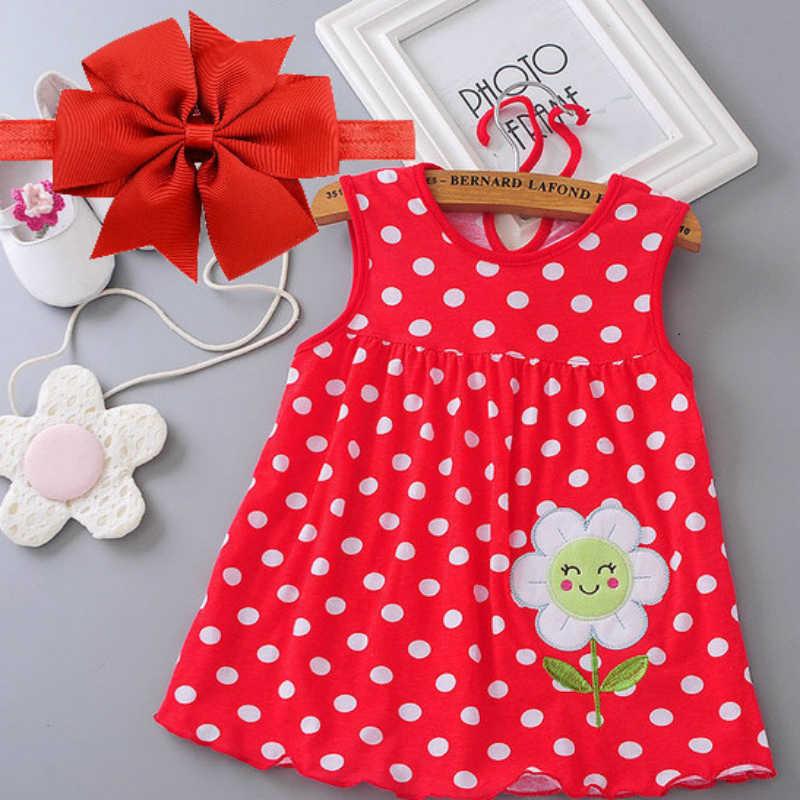 Baby Girl Dress Summer 2018 New Explosion of Baby Girls Cotton Floral Dresses 100% Cartoon Kids Doll Princess Dress + Headband