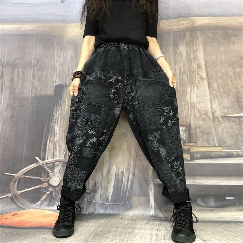 Autumn New Fashion Women Elastic Waist Loose Jeans Vintage Print Cotton Denim Harem Pants Plus Size Casual Jeans S463
