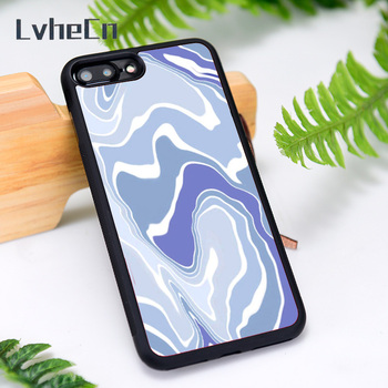 LvheCn Silicone Rubber Phone Case Cover for iPhone 6 6S 7 8 Plus X XS XR 11 12 Mini Pro Max Blue Wavey image