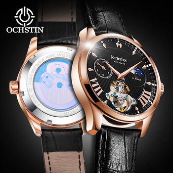 OCHSTIN Fashion Tourbillon Mechanical Watch Men Automatic Classic Rose Gold Leather Mechanical Wrist Watches Reloj Hombre 2020