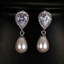 Luksusowe kobiet panie kolczyki z kamykami elegancki ślub panna młoda kolczyki moda srebrny kolor podwójne perły kolczyki dla kobiet