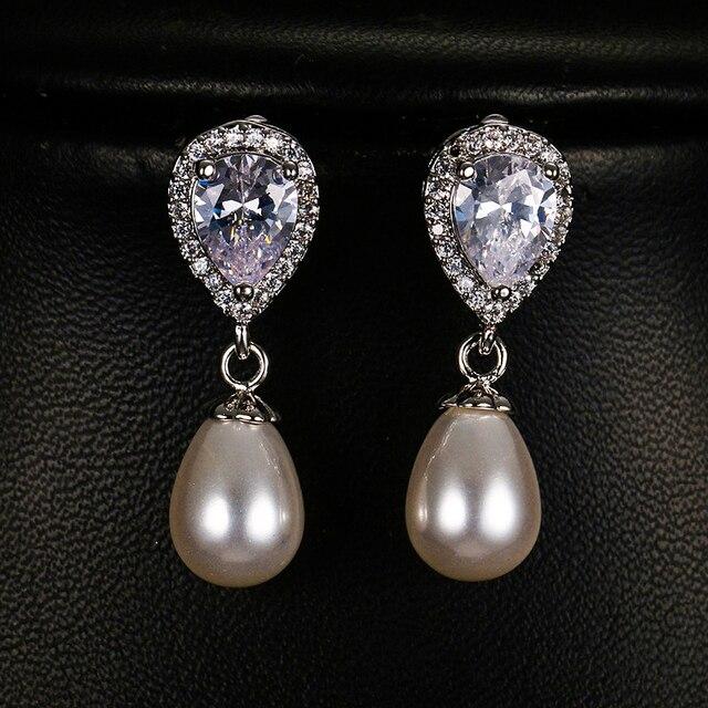 Luxe Vrouwelijke Dames Stone Stud Oorbellen Elegante Bruid Bruiloft Oorbellen Mode Zilveren Kleur Dubbele Parel Oorbellen Voor Vrouwen