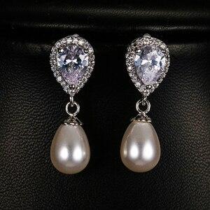 Image 1 - Luxury Female Ladies Stone Stud Earrings Elegant Bride Wedding Earrings Fashion Silver Color Double Pearl Earrings For Women
