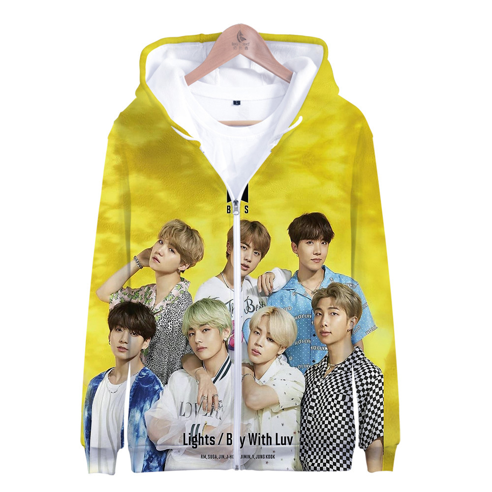 2019 Spring And Autumn New Products BTS-World-Lights Digital Colour Printing 3D Fashion Casual Zipper Hoodie Men's Sweatshirts &