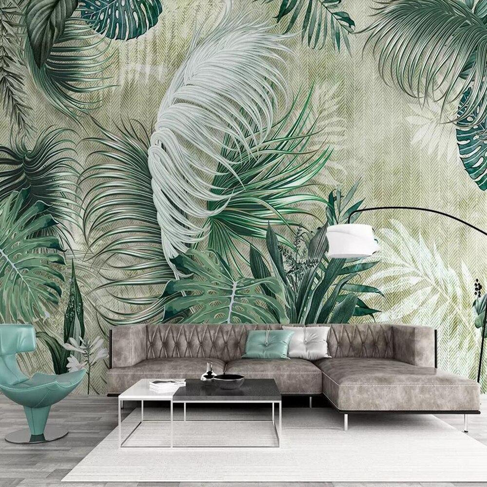 Milofi Custom 3D Wallpaper Mural Tropical Plant Banana Leaf Modern Minimalist Background Wall Painting Decorative Painting Wallp
