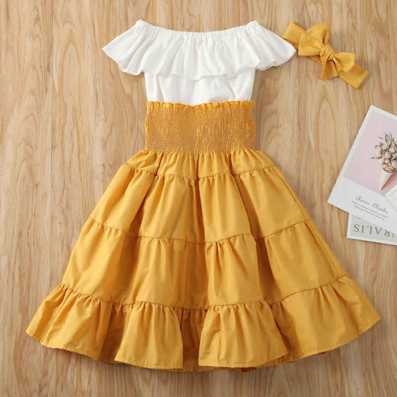 Toddler Kids Baby Girls Infant Clothes T-shirt Top A-LIined Skirt Headband Outfits Summer Set 2-7Y