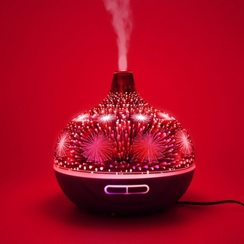 Humidificador De Aire De Vidrio Ignífugo 3D Con 7 Colores Led Luz Nocturna Aroma Difusor De Aceite Esencial Fabricante De Niebla Humidificador Ultrasónico Oscuro