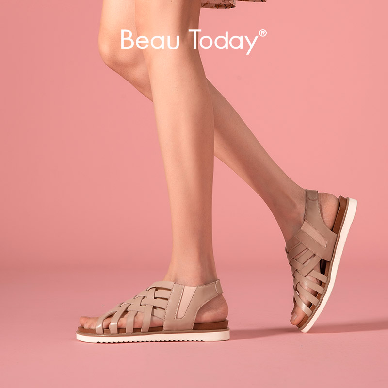 BeauToday Gladiator Sandals <font><b>Women</b></font> Calfskin Genuine Leather Elastic Closure Slip-On Summer Lady Hollow Flat <font><b>Shoes</b></font> Handmade 33012 image