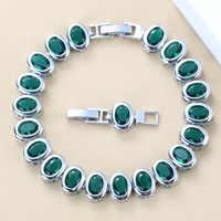 925 Sterling Argento Piccola Rotonda Verde Creato Smeraldo Braccialetto di Salute del Gioelleria raffinata e alla moda Per Le Donne di Trasporto Contenitore di Monili SL125