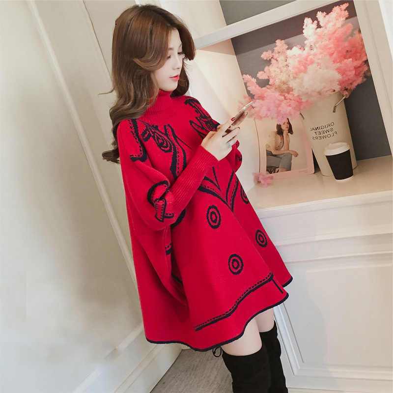 2019 Autumn And Winter New Style Korean-style Mid-length High Collar Pullover Knitting Shirt Cloak Sweater Women Red Batwing Shi