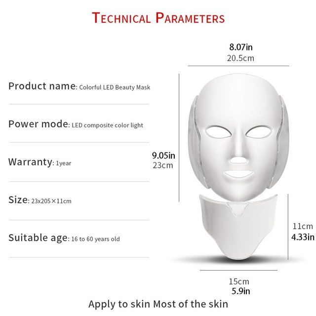 7 Colors LED Facial Mask Spectrometer Led Therapy Mask Light Therapy Acne Neck Face Mask Korean Skin Care OPP Bag Pack 5