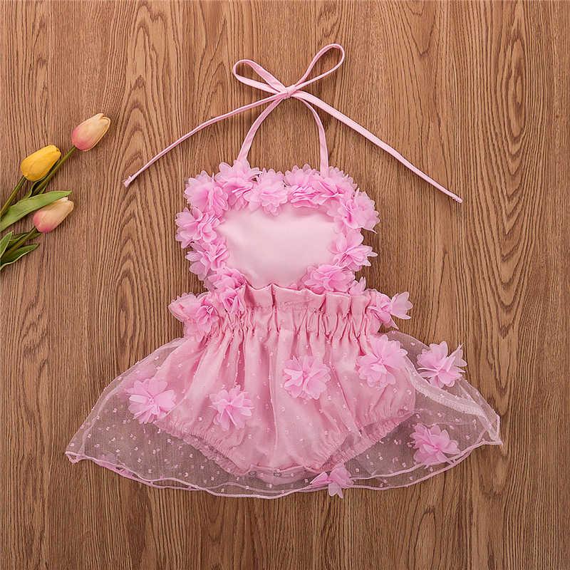 Newborn Infant Baby Girls Floral Ruffle Sleeveless Romper Bodysuit Kids Outfits
