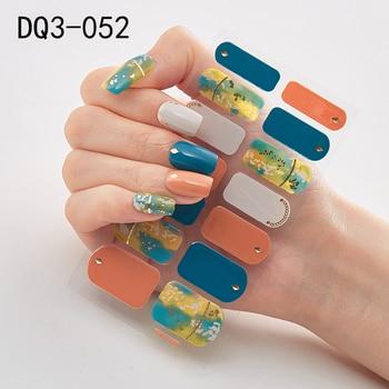 14pcs/sheet Glitter Gradient Color Nail Stickers Nail Wraps Full Cover Nail Polish Sticker DIY Self-Adhesive Nail Art Decoration 36