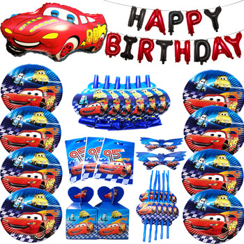 Cartoon Toy Story McQueen Theme Paper Cup Plate Straw Banner Baby Birthday Party Disposable Tableware Set Red Number Car Balloon image