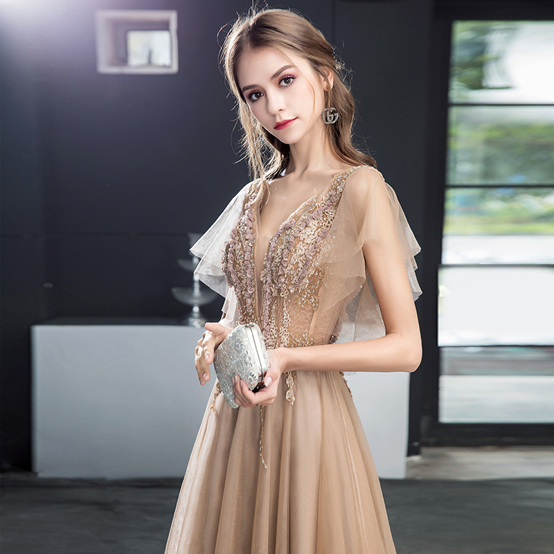 Evening Gown Women's 2019 New Style Fashion Debutante Gold Banquet Elegant Host Party Dress Explicit Thin Long