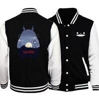 Totoro print fashion men black baseball uniform 2019 autumn winter stand collar snap button jackets loose fit comfort sweatshirt