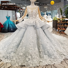 LS017844 Royal Ball Gown Evening Dress 2020 With 3D Petal Flowers Tulle Long Sleeves O Neck Beaded Occasion Dress