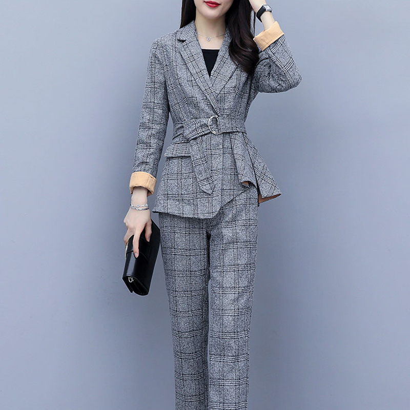 Blazer Set Women Pant Suits For Office Ladies Long Sleeve Luxury Designer Suit 2 Piece Set Jacket Coat Plaid Winter Clothing