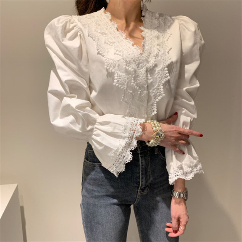 Alien Kitty OL Office Lady Casual V-Neck Shirts 2020 Sweet Chic Patchwork Lace Flare Sleeves Warm All-Match Stylish Blouses