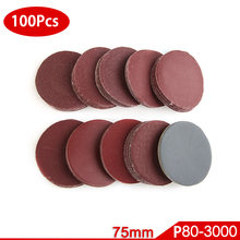 100pcs 75mm Sandpaper Round Shape Sanding Discs Sanding Paper Buffing Sheet Sandpaper NO-Hole Sander Polishing Pad