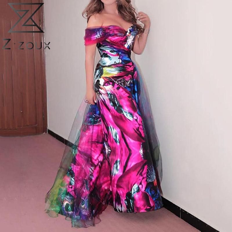 Z-zoux Women Dress V-neck Sleeveless Off Shoulder Dresses Mesh Patchwork Plus Size Printing Sexy Dresses Summer Clothes Women