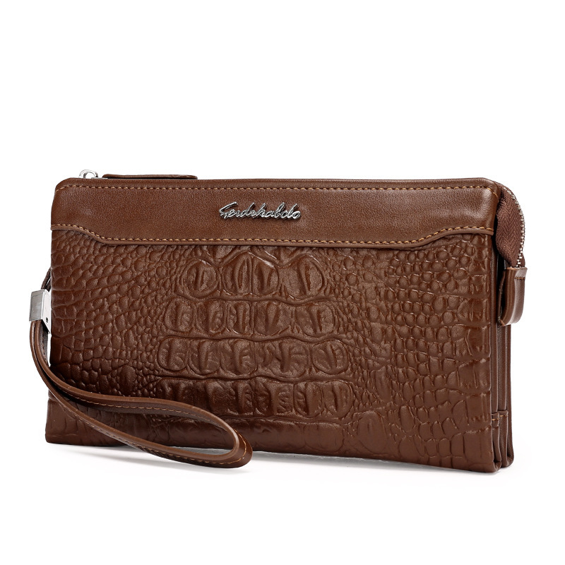 men's bags embossed crocodile pattern leather cross border exclusively for men's handbags, large capacity pocket purses