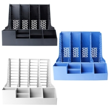 4 Sections Desktop File Rack Paper Book Hold Office Document Tray Organizer Box M17F