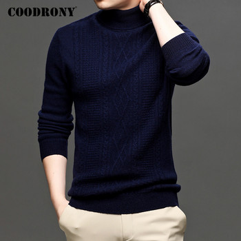 COODRONY Brand High Quality Merino Wool Sweaters Autumn Winter Thick Warm Turtleneck Sweater Men Soft Casual Slim Pullover C3037 coodrony brand sweater men zipper turtleneck cardigan men clothing autumn winter thick warm 100% merino wool sweater coat p3026