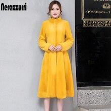 flare Nerazzurri フェイクファーのコートの女性長袖黄色グレー偽のウサギの毛皮のコートの冬プラスサイズふわふわ毛皮のコート フィットと