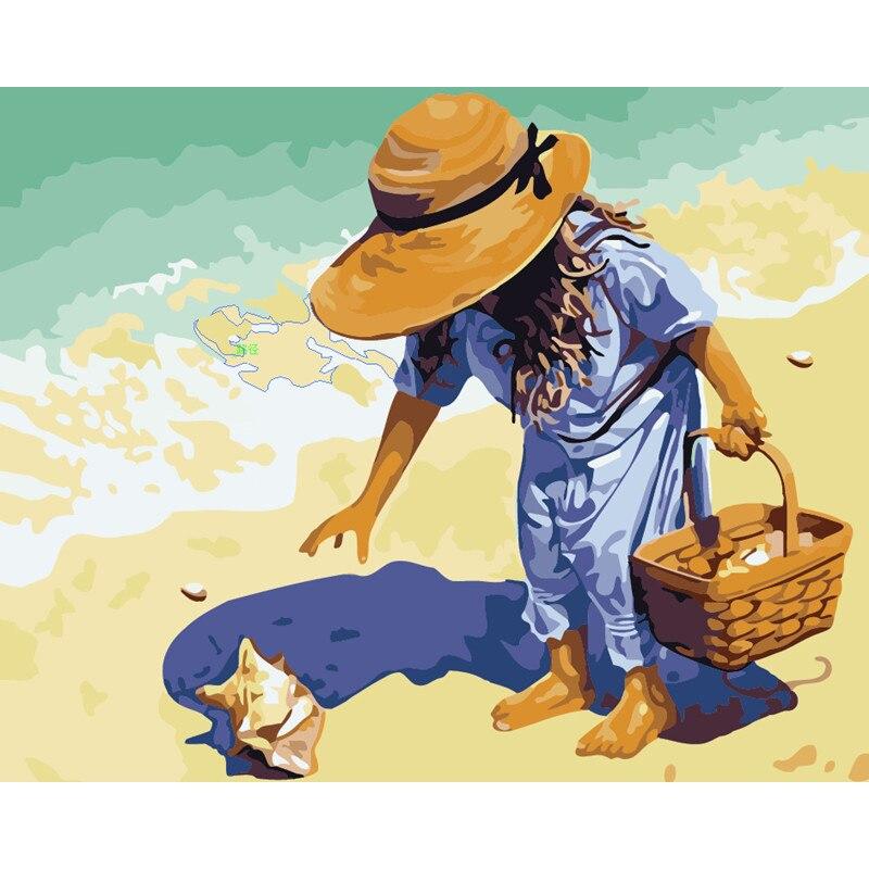 Пляж маленькая девочка DIY Рисование на холсте по номерам дети взрослые акриловые абстрактные масляные краски по номерам картина для стены современного искусства|Картина по номерам|   | АлиЭкспресс