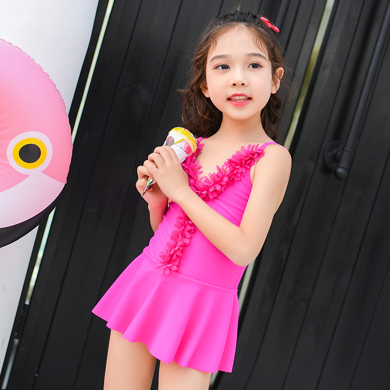 Girls One-piece Boxers Skirt Bathing Suit Cute Stereo Flower Camisole Big Boy Baby Hot Springs Swimwear