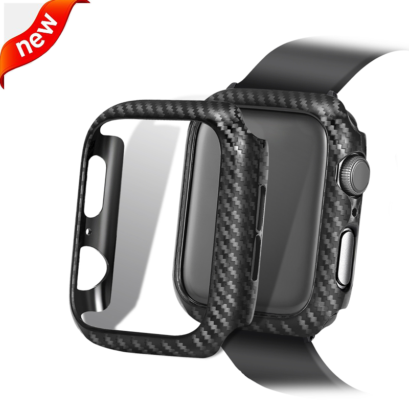 Carbon Fiber Screen protector cases For <font><b>Apple</b></font> <font><b>Watch</b></font> <font><b>5</b></font> 4 3 2 1 <font><b>44mm</b></font> 42mm 40mm 38mm Protective bumper cover For iWatch accessories image