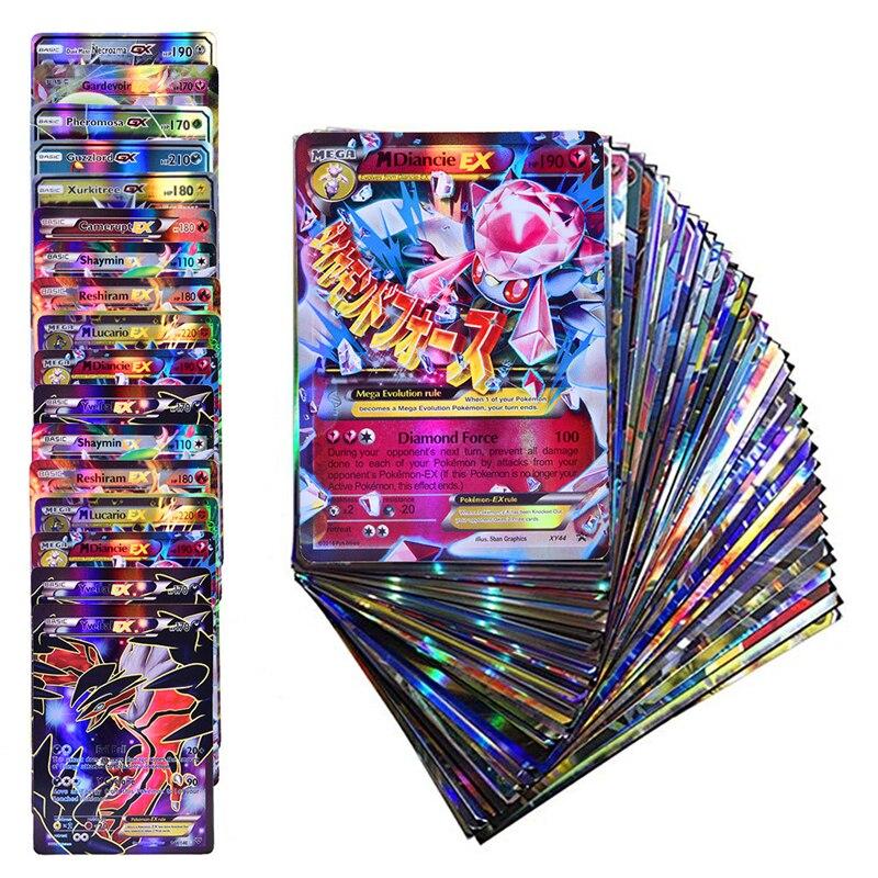 Cartes de Collection Pokemon EX MEGA GX pour enfants, meilleure vente, jeu, bataille, commerce, Version anglaise, étiquette équipe TOMY, brillantes, 10 à 120 pièces