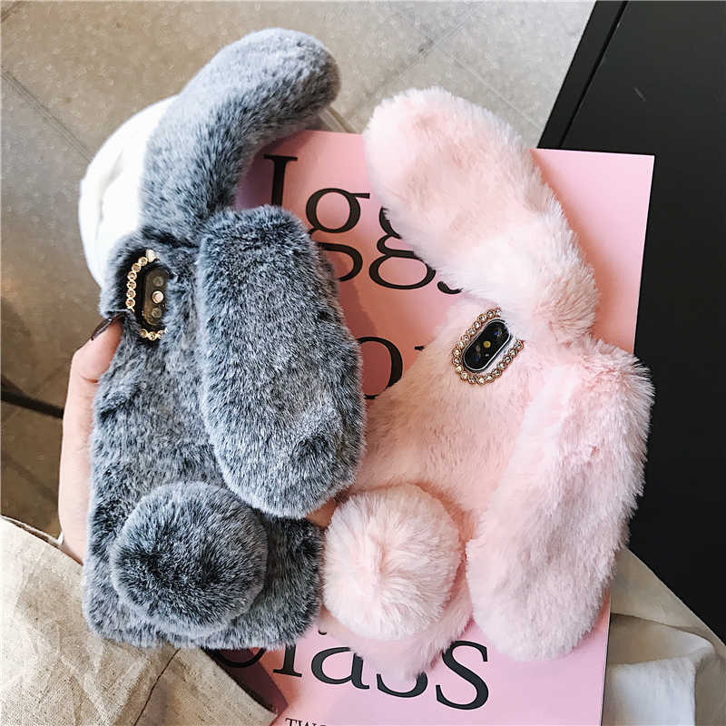 Cute Rabbit Ears Fluffy Phone Case Cover for iPhone 11 Pro X Xs Max Xr 8 7 6 5 6S 5S Plus Bunny Plush Fur Soft Silicone TPU Case,for iPhone 7 8,Pink