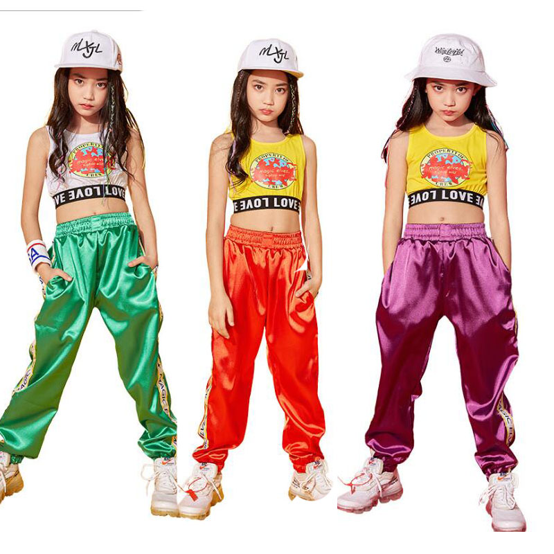Children Ballroom Dance Clothes For Girls Vest Performance Show T Shirt Jogger Pants Jazz Kid Hip Hop Dancing Costumes Outfits