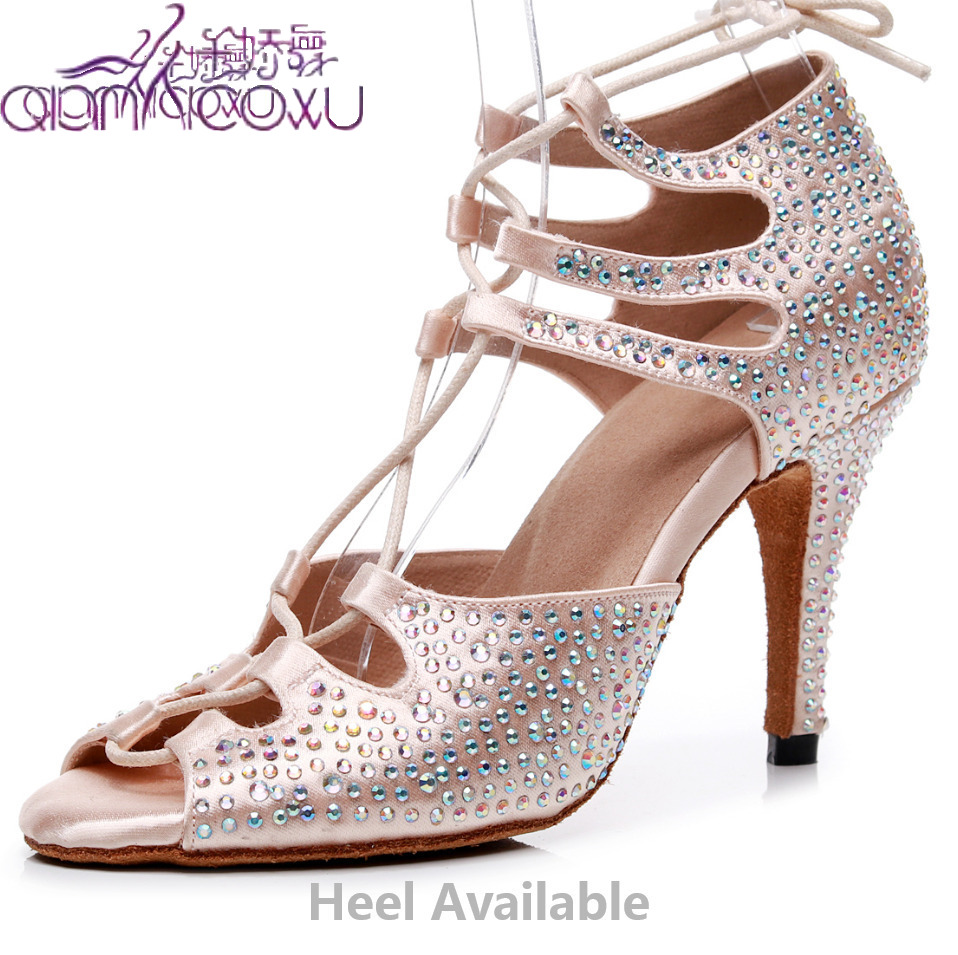 Fashion Salsa Jazz Ballroom Latin Dance Shoes For Dancing Women Buty Latino Small Feet High Heels Summer Rhinestone Sandal 7165