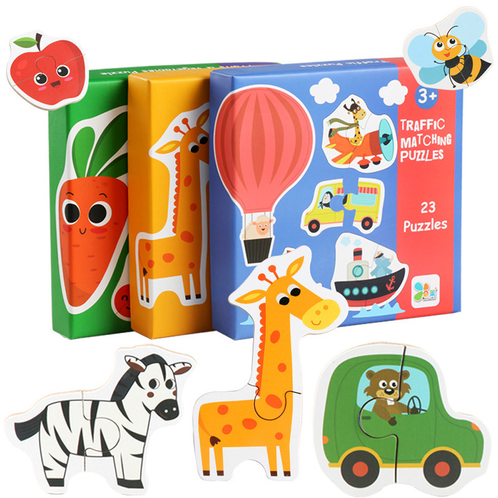 Children's Huge Matching Puzzle Animal Traffic Fruit Vegetables Baby Wooden Wood Cognition Puzzle Learning Educational Toy L0120