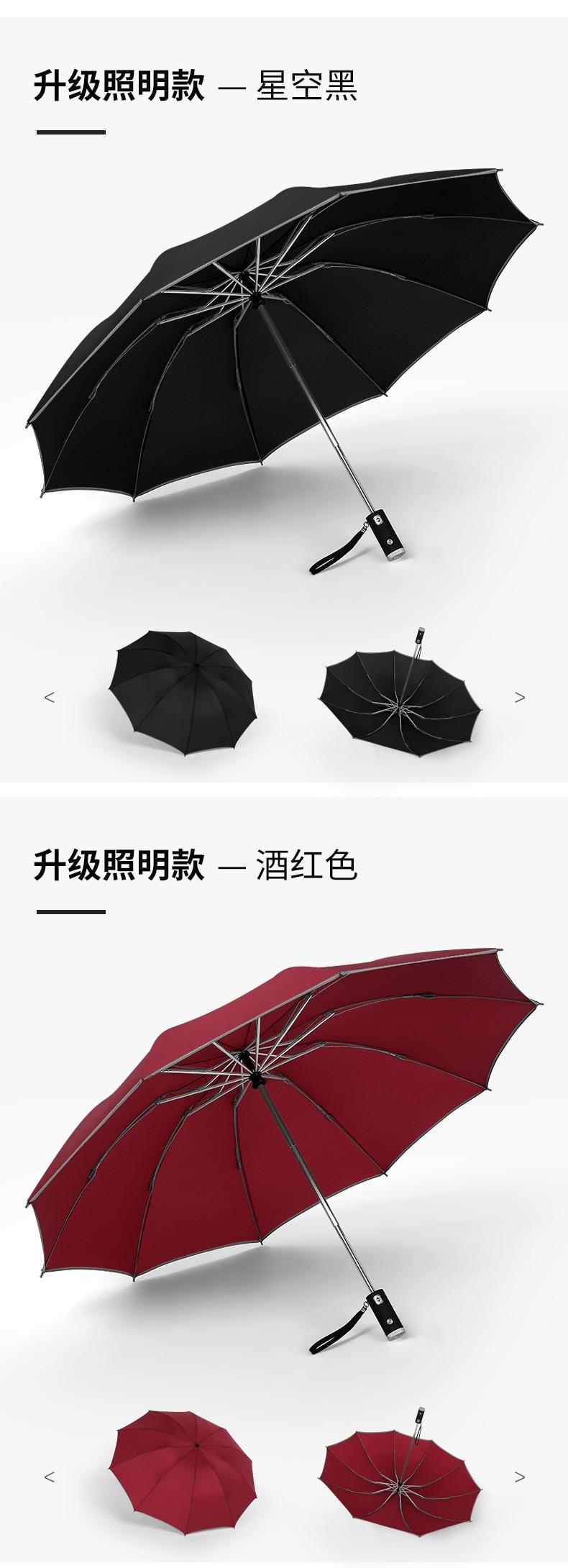 ZGHYBD LED Inverted Umbrella with Reflective Stripe, Travel Umbrella Auto Openclose Windproof Compact Folding Umbrella, Folding Umbrella with 180 Rotating LED Flashlight Folding Umbrella Green