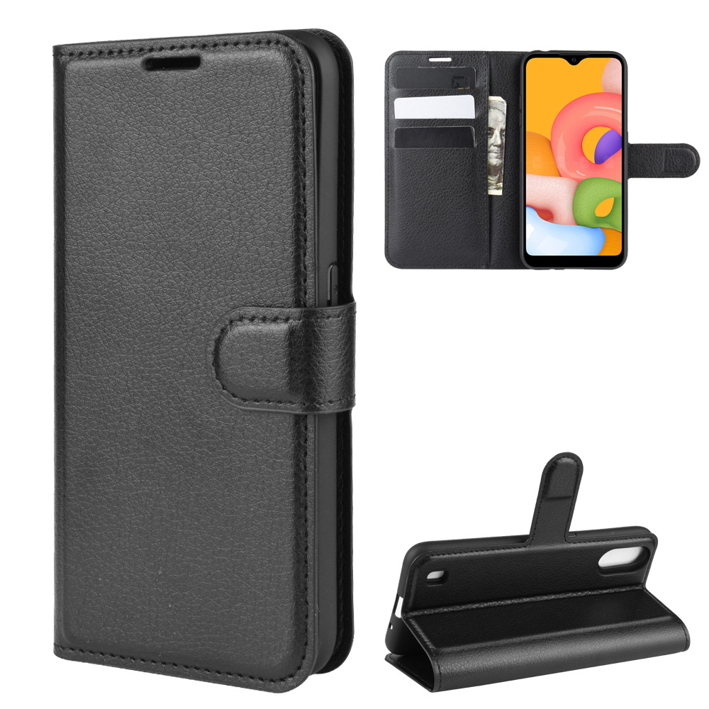 For Samsung Galaxy A01 Case SM-A015F Soft Silicone insert Flip Wallet Leather Case For Samsung A01 Cover Kickstand Phone Bag(China)
