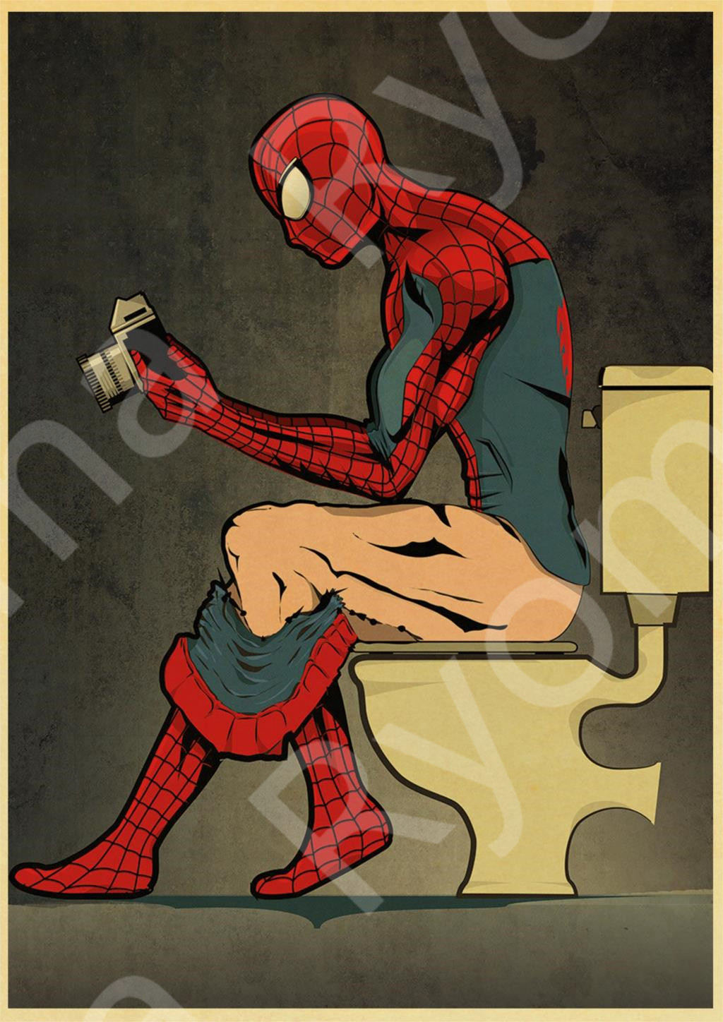 Funny Super Heroes Poster Spiderman Toilet Decorative Posters And Prints Wall Pictures For WC Decor Wall Stickers Living room image