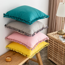 Throw Cushion Cover Solid Pillow Cover Cotton Pink Green Grey Yellow Tassels fringe 45x45cm Home decoration Zip Open