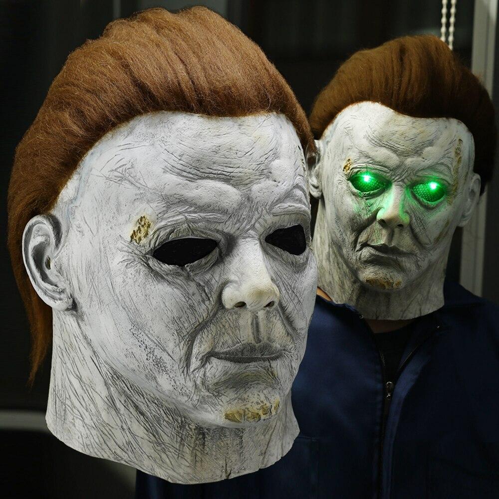Horror Michael Myers LED Halloween Kills Mask Cosplay Scary Killer Full Face Latex Helmet Halloween Party Costume Props New 2020(China)