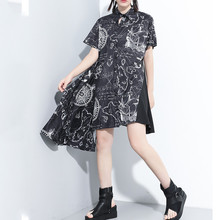 SeeBeautiful Printed Lapel Short Sleeve Single Breasted Irregular Large Size A-line Dress Summer 2020 New Fashion Tide L904(China)